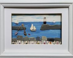 Quirky Art, Cornish Pebble Art, Pebble Picture, Cornish Cottages, Sea Pottery Sails, Made in Cornwall, wall art, Mevagissey Harbour,