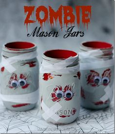 DIY Zombie Mason Jars Halloween Decorations