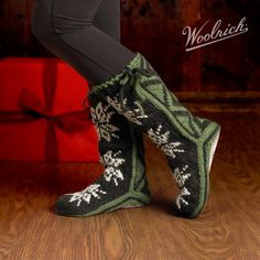 The perfect companions for relaxation after work, after skiing ... after just about any activity out there in the cold winter world   Woolrich Women's Chalet Slipper Socks   8 Different Colorways #woolrich1830 I want a pair