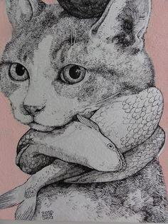 マフラーと帽子 (Hat & Scarf), by Higuchi Yuko (see more at: http://www.art-meter.com/works/?ID=AW043947)