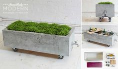 Rolling concrete planter, or fill it with ice and beverages!
