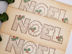 "Christmas Gift Tags. Set of 6, vintage style tags featuring the text ""noel"" and with hand coloured accents. These luxury tags are a perfect way to finish off a gift, to add to favors or to be used as place settings. By simplyprettypieces, $6.95"
