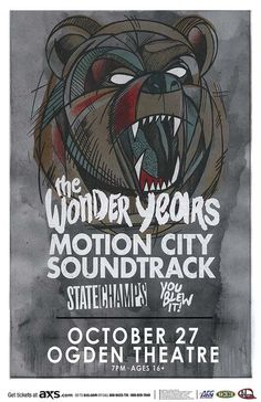 Concert poster for The Wonder Years and Motion City Soundtrack at the Ogden Theatre in Denver, CO in 2015. 11 x 17 on card stock.