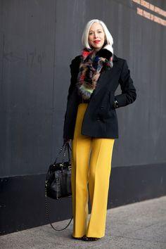 Yellow Pants! -Linda Fargo wears color like a pro.    #streetstyle #newyorkfashionweek #fashion #fashionweek #style #harpersbazaar #mrnewton