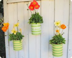 Tin cans turned flower-pot with just a little bit of paint and some flowers.