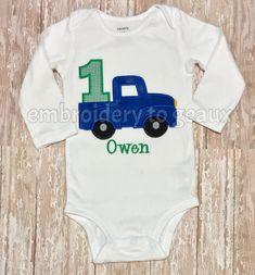 Little Blue Truck inspired First Birthday T-Shirt or Bodysuit-Boys Birthday Shirt-Truck Birthday Shirt