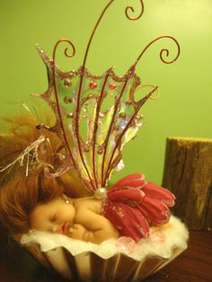 fairy baby pink PETALS ooak art doll wing elf fantasy fairies crystal pearl