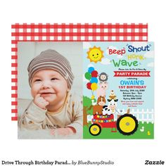 Drive Through Birthday Parade Farm Party Animals Invitation Barnyard Animals, Party Animals, Animal Party, Farm Party Invitations, Birthday Invitations Kids, Blue Bunny, Farm Birthday, Time To Celebrate, Party Hats