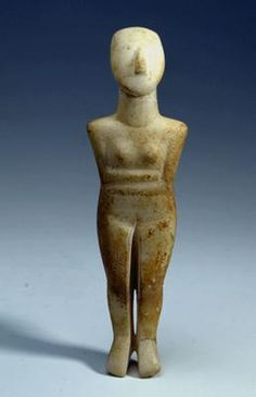 Female figure with folded arms. Eastern Mediterranean, Greece, the Cyclades. Early Cycladic II, early Spedos variety. (c. 2700-2400 BC). Marble, traces of red pigment. h 21.9 cm. Acquired 1966. Robert and Lisa Sainsbury Collection. UEA 339
