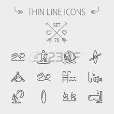 Sports thin line icon set for web and mobile Set includes wind surfing pool swimming surfboarding ka Stock Vector