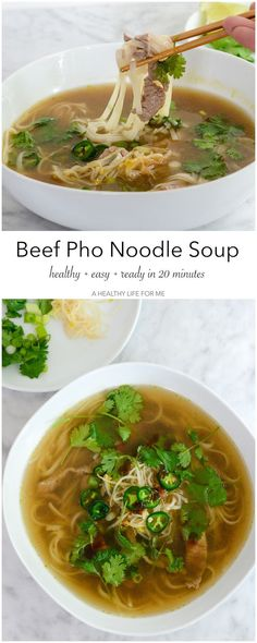 Beef Pho Noodle Soup is a simple delicious quick weeknight dinner for the whole family that is ready in less than 20 minutes.  Beef soup loaded with thinly sliced beef, rice noodles topped with loads of fresh jalapeno, bean sprouts, green onion, cilantro,