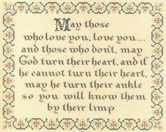 An Irish Prayer by Homespun Samplar Counted Cross Stitch Pattern/Chart