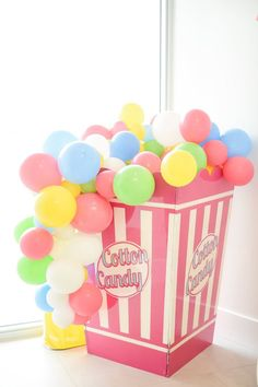 Cotton Candy Balloon Installation from a Girly Pastel Carnival Birthday Party on Kara's Party Ideas | KarasPartyIdeas.com (20)