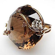 MASSIVE VINTAGE SMOKY QUARTZ & DIAMOND COCKTAIL RING