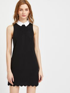 Shop Contrast Collar Scallop Hem Dress online. SheIn offers Contrast Collar Scallop Hem Dress & more to fit your fashionable needs.