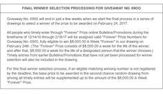 "See the Official Rules for details about our February 24th ""Forever"" Prize"