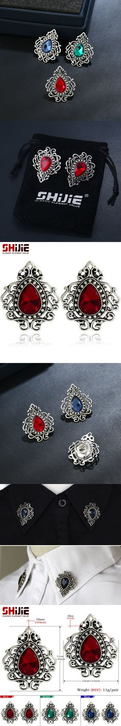 SHIJIE Vintage Flame Mens Collar Brooches for Women Korean Cute Red Green Blue Glass Mini Brooch Lapel Pins Fashion Jewelry Gift