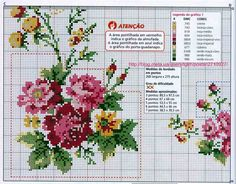 Cross Stitch Charts, Cross Stitch Patterns, Cross Stitch Flowers, Table Linens, Needlepoint, Diy And Crafts, Embroidery, Floral, Cross Stitch Samplers