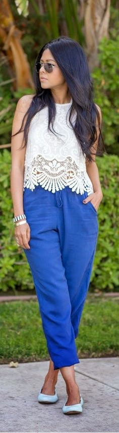 White Halter Lace top with Blue Pant | Chic Summer...