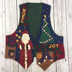 Ugly Cute Tacky Christmas Quilted Vest Sweater Womens Noel Santa Tree Snowman XL #Handmade #VestSleeveless #Christmas