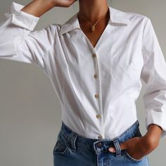 vintage white 100% cotton favorite long sleeve button up