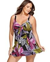 Sigh. Swim Solutions Plus Size Swimsuit, One Piece Tropical Print Tummy Control Swimdress