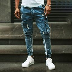 How will you wear our NEW top seller on in our store!  Cargo Jeans White Side Stripes Regular price $67.99 USD  . #fashion #style #gentleman #viennablogger #ootdmen #gentstyle #igersvienna #styleman #styleforman #fashionman #styleforguys #classylook #menswear #mensfashion #outfitinspo #mensfashion #classy #casualstyle #menwithclass Casual Outfits, Men Casual, Gents Fashion, Cargo Jeans, Mens Fall, How To Look Classy, Grunge Fashion, Mens Suits, White Jeans