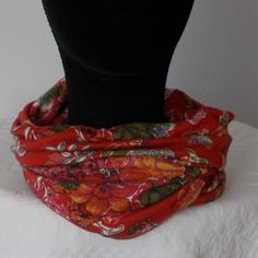 NECKER-SNOOD made in RED LIBERTY JERSEY FABRIC  £16.50