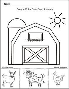 free farm worksheets for preschool - Google Search