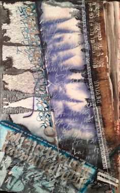 The River - Abstract calligraphy Textual Art. Lots of Acrylic ink plus lots of water and overwritten with white gouache SOLD