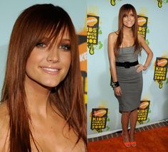 Ashlee Simpson red brown hair hair. I like the color and length, not crazy about the bangs