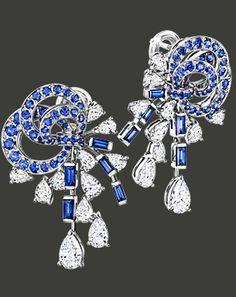 Boucles d'oreilles Les Jardins du Petit Trianon « Les Glycines »  en or blanc 18 carats pavées de diamants taille poire (5,89 ct) et pavés de saphirs bleus. 2011