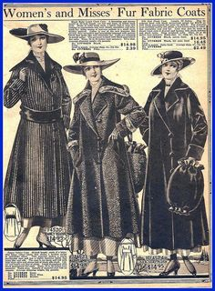 1916 sears, women's and misses fur fabric coats