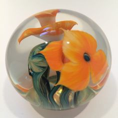 Jerry Heer Lotton Studios Lampworked Floral Encasement Art Glass Paperweight