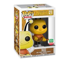If this Honey Nut Cheerios ad icon knows one thing it's delicious cereal! This Funko Shop limited edition Pop! Buzz Bee is happy to share his knowledge. This cheerful, hard-working bee would make the perfect holiday companion. Funko Pop Dolls, Funko Pop Figures, Vinyl Figures, Action Figures, Funk Pop, Best Funko Pop, Pop Figurine, Funko Pop Exclusives, Pop Ads