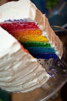 """I did it, made the rainbow cake :) It was fun! Turned out great and the review I got from Hannah was """"That cake is  extremely the most awesomest thing I have ever seen in a cake! : )"""""""