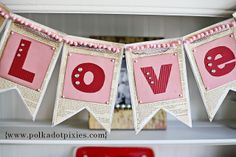 LOVE book page bunting by Polka Dot Dixies