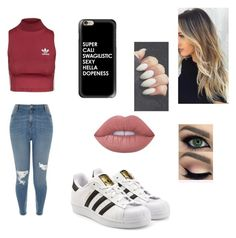 """""""Untitled #82"""" by arielfittry on Polyvore featuring River Island, adidas Originals, Topshop, Casetify and Lime Crime"""