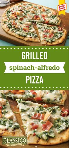 Grilled Spinach-Alfredo Pizza – A cheesy mixture of bacon, chicken, and spinach combined with Alfredo sauce team up to make a great topping for this California-style grilled pizza featuring KRAFT Cheese. And this recipe can be ready for your dinner table in less than 30 minutes.