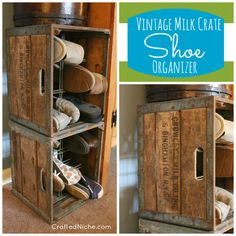 Vintage Milk Crate used as SHOE Organizer from @Dana @ Crafted Niche #organizing #milkcrate