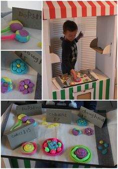 Pretend Play Bakery using Play-Doh. Great idea for sensory play, math and early language development. So simply as well!