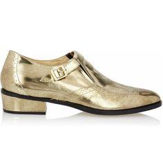 Jimmy Choo Metallic leather monk-strap loafers