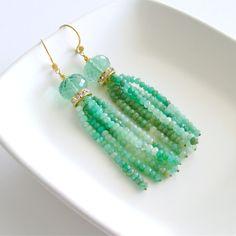 Chrysoprase Green Fluorite Tassel Earrings -