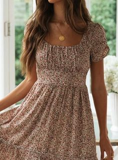 Round Neck Ruched Detail Floral Midi Dress CindyMod - Casual Dresses - Ideas of Casual Dresses Modest Dresses, Elegant Dresses, Casual Dresses For Women, Cute Dresses, Flower Girl Dresses, Sexy Dresses, Midi Dresses, Beautiful Dresses, Pretty Summer Dresses