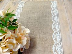 Scalloped Lace Burlap Table Runner Rustic by HotCocoaDesign