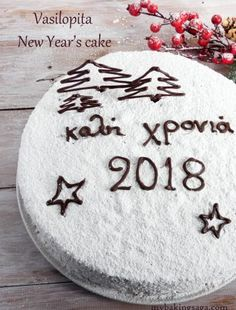 Vasilopita is a cake which has a coin hidden in it and it is a Greek custom to slice the cake for the New Year. The coin brings luck to the person who finds it. Vasilopita Cake, Vasilopita Recipe, Greek Desserts, Greek Recipes, Cake Recipes, Dessert Recipes, New Year's Cake, Phyllo Dough, Vegetarian Chocolate