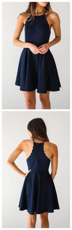 Cheap homecoming dresses Dark Navy A Line Homecoming Dress