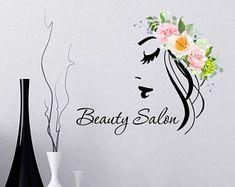 Wall Vinyl Decals Hairdressing Beauty Girl Sticker Long Lashes Decal Flower F. Beauty Salon Logo, Beauty Salon Decor, Beauty Salon Design, Hair Salon Logos, Nail Salon Decor, Salon Business Cards, Nail Blog, Makeup Salon, Beauty Spa
