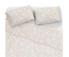 Parure letto matr. in lino e cotone Alec - beige