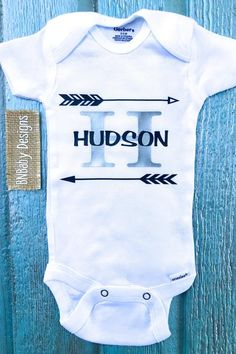 Name and initial baby onesie, this adorable onesie would make a great gift for a new bundle of joy. This is a Gerber brand onesie with a navy and silver heat transfer design. Customizing is always an option leave me a note during checkout. GERBER ONESIES DO RUN SMALL SO I WOULD SUGGEST GOING UP A